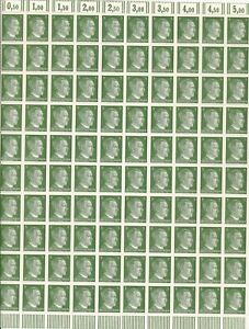 Stamp Germany 5 PF Adolf Hitler Sheet 1941 WWII 3rd Reich German MNH Faults