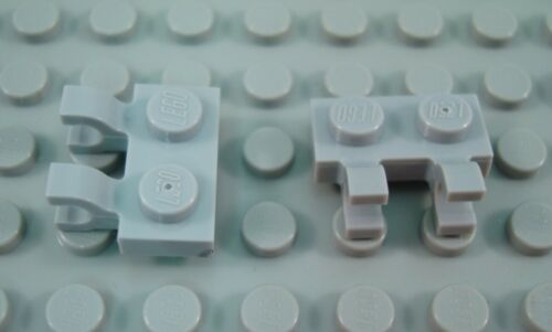 New LEGO Lot of 2 Light Bluish Gray 1x2 Horizontal Clips Plate Pieces