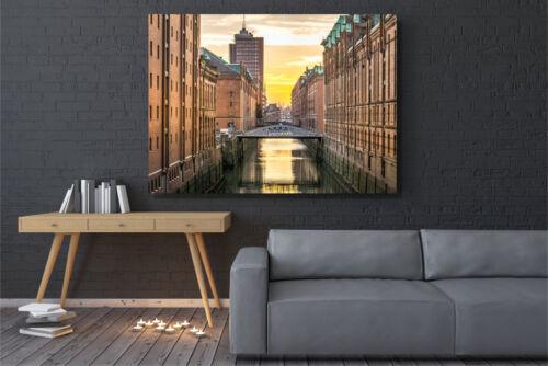 Speicherstadt Größe L 16isa Hamburg Leinwandbild Sunset Wandbild 100x70cm