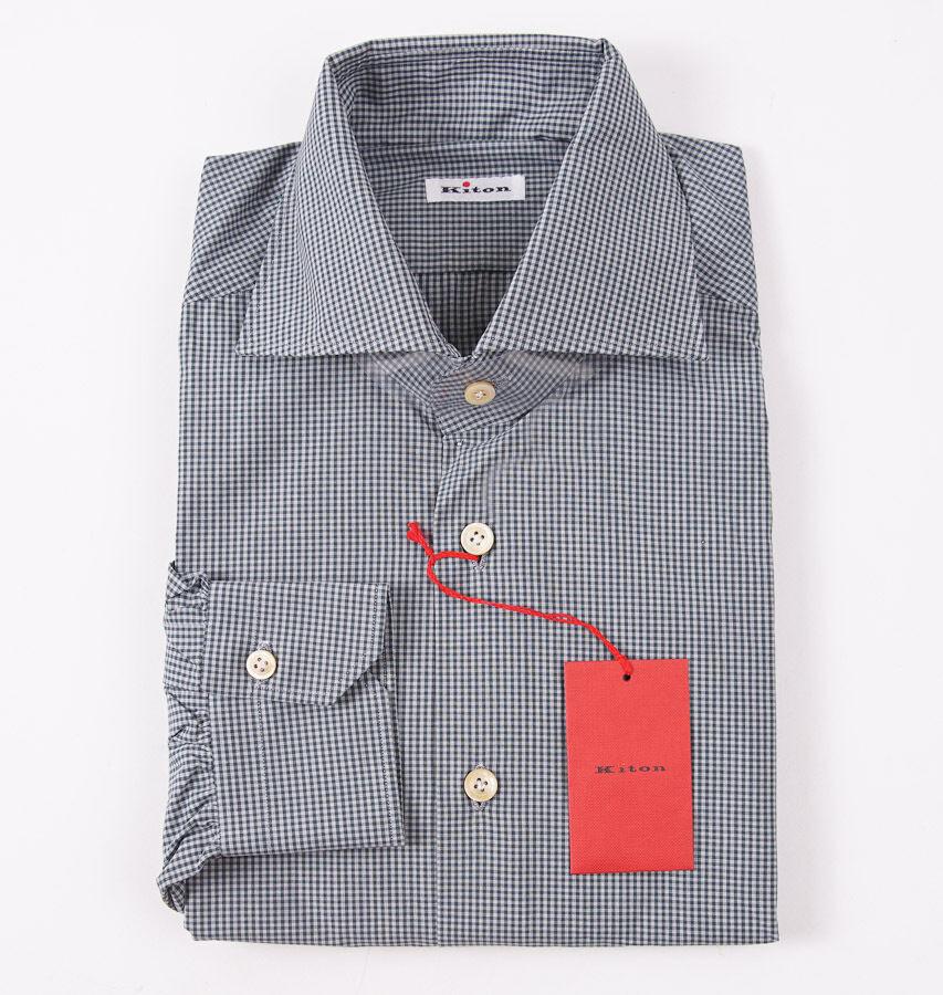 NWT  795 KITON NAPOLI Pine Grün Gingham Check Dress hemd 15.75 x 35 Modern-Fit