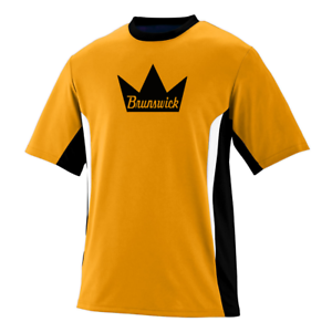 Brunswick Men/'s Edge Performance Crew Bowling Shirt Dri-Fit Gold Black
