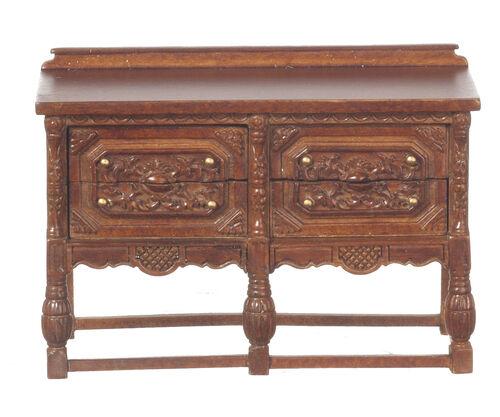 1 12 Scale Dolls House Quality Furniture 1870 GOTHIC CHEST WALNUT 31038wn