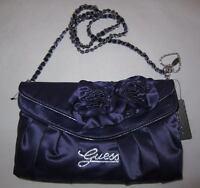 $85 GUESS Preziosa Evening Bag Purse Flap Clutch Sac Chain Heart Charm Satin New