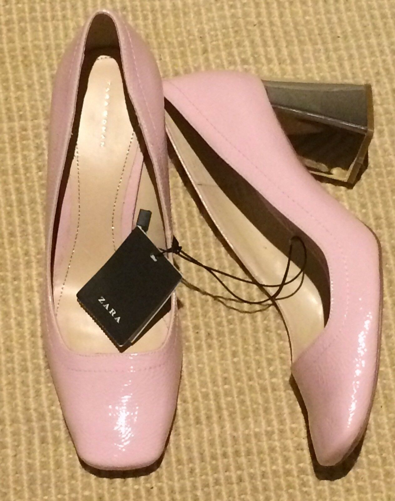 BNWT Zara Pink Patent Leather Silver heeled shoes Size 40 7