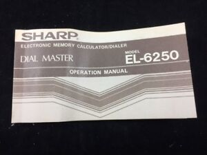 OPERATION-MANUAL-FOR-SHARP-EL-6250-VINTAGE-ELECTRONIC-MEMORY-CALCULATOR