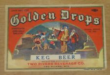 1 beer label from Two Rivers, Wisconsin, Golden Drops Keg Beer, 1/2 gal., IRTP