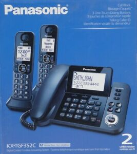 KX-TGF352-C-Panasonic-1-Corded-Plus-2-Cordless-Handset-Answering-machine-Black