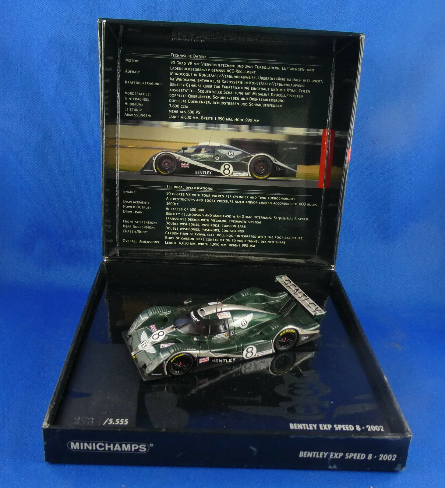 Minichamps bentley exp speed 8 24 h of man 2002 new in her box