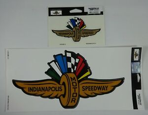 Indianapolis-Motor-Speedway-Gold-Wings-Wheel-Flags-Decal-Indy-500-Brickyard-IMS