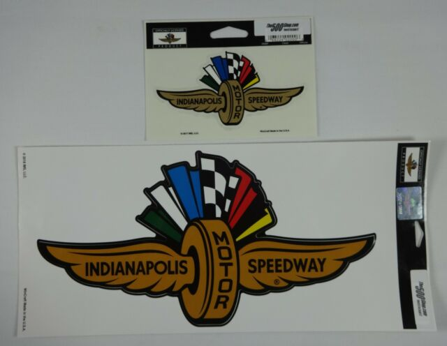 Indianapolis Motor Speedway Gold Wings Wheel Flags Decal Indy 500 Brickyard IMS