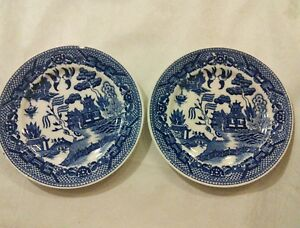 Image Is Loading Set Of 2 Vintage House Blue Willow