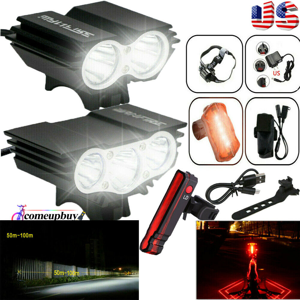 8000 Lumen Rechargeable Mountain Bike Lights Bicycle Torch Front /& Rear Lamp Kit