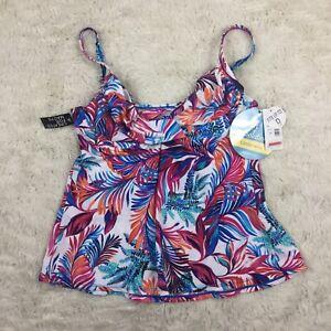 NWT Swim Solutions Womens Sz 12 Sienna Printed Underwire Wrap Tankini Top. Z4