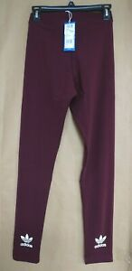acb786719c8 NEW adidas Originals Womens Adicolor Trefoil Leggings Maroon/White ...
