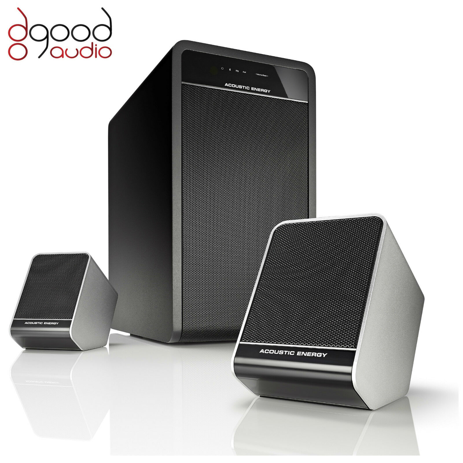 akustisch energie aego 3 aktiv 2 1 bluetooth lautsprecher subwoofer system ebay. Black Bedroom Furniture Sets. Home Design Ideas