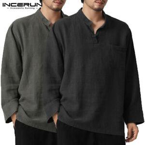 Verano-Hombre-Lino-Algodon-camisa-de-mangas-largas-Holgada-Camisas-Prendas-para-el-torso-Informales