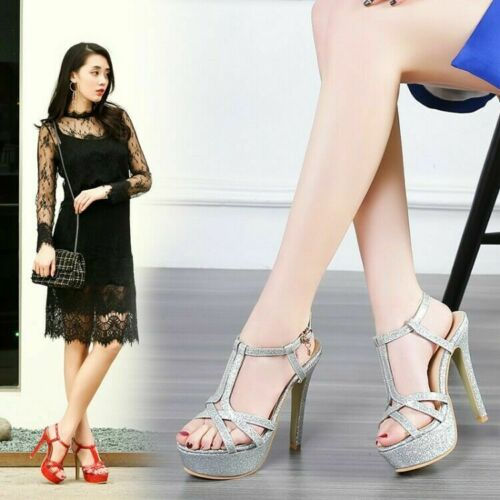 Womens Trendy Open Toe Ankle Strap Sandals High Heels Platform Shoes Casual Shoe