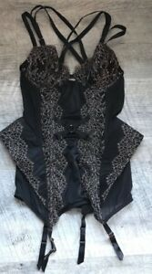 victoria's secret black gold lace peplum teddy bodysuit