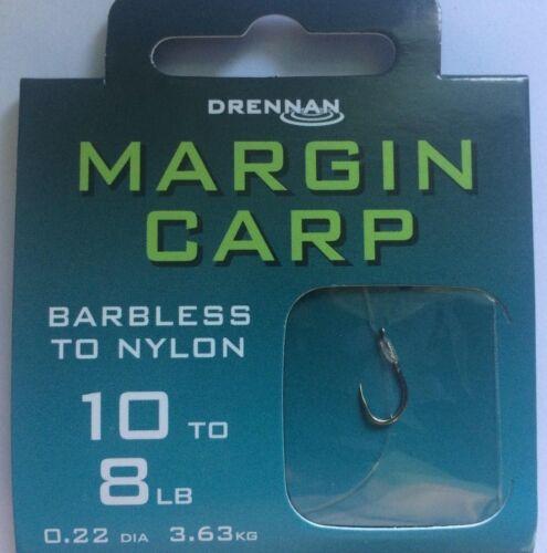 DRENNAN BARBLESS MARGIN CARP FISHING HOOKS TO NYLON 8 RIGS PER PACK