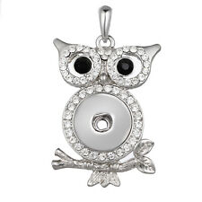 Hot Owl Women Crystal Jewelry Necklace Pendant Fit 18mm Noosa Snap Button N321