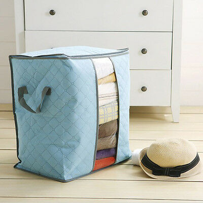 Bamboo Charcoal Folding Clothes Blanket Closet Organizer Storage Bag