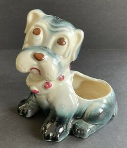 Vintage Glazed Ceramic Pit Bull Dog Puppy Planter Blue and White