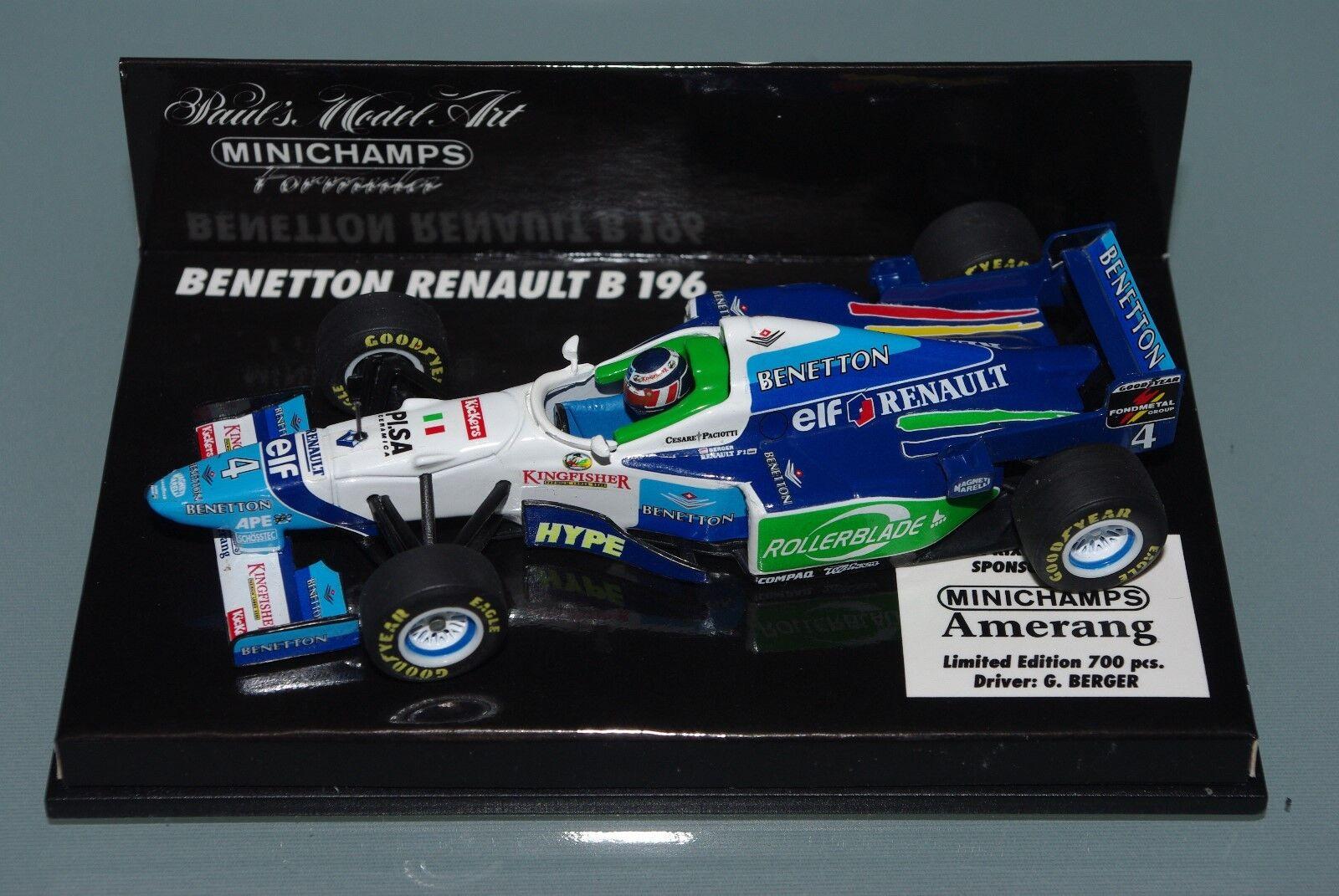 Minichamps F1 1 43 Benetton Renault B196 Rollerblade-BERGER-von 700 pcs