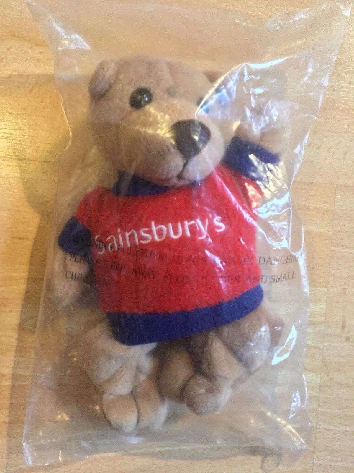 New Sealed Sainsbury's Teddy Bear Beanie Soft Toy 7  Red Jumper Collect
