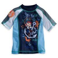 Disney Store Jake And The Never Land Pirates Rash Guard Swim Shirt Boy Size 5/6