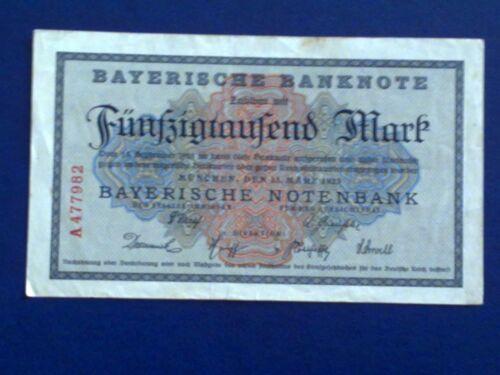 GERMANY VERY FINE BAYERISH 50000 MARK 1923 Munich