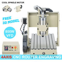 4 Axis Cnc Router Engraving Machine Engraver 800w Inverter Spindle/motor