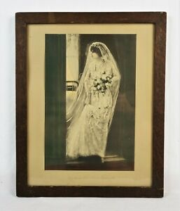 Antique-Art-Nouveau-Lithograph-Print-of-Beautiful-Woman-Bride