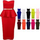 Ladies Boobtube Belted Frill Sleeveless Peplum Midi Women's Bodycon Dress 8-16
