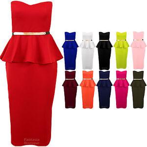 Ladies-Boobtube-Belted-Frill-Sleeveless-Peplum-Midi-Womens-Bodycon-Dress-8-16