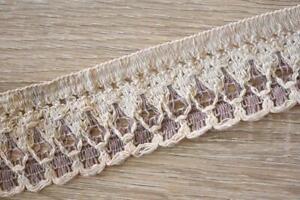 3-Meters-TR827-Lace-Cream-Plum-50mm-Wide-Trim-Cotton