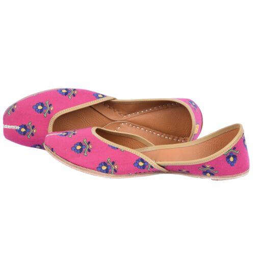 Ladies Pink Floral Summer Beach Slip on Handmade Leather Ballet Flats Indian