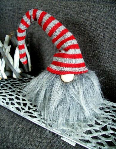Bords tabouret Père Noël SECRET * Runt lutin geringelt 31 cm gris ROUGE//GRIS BONNET nain