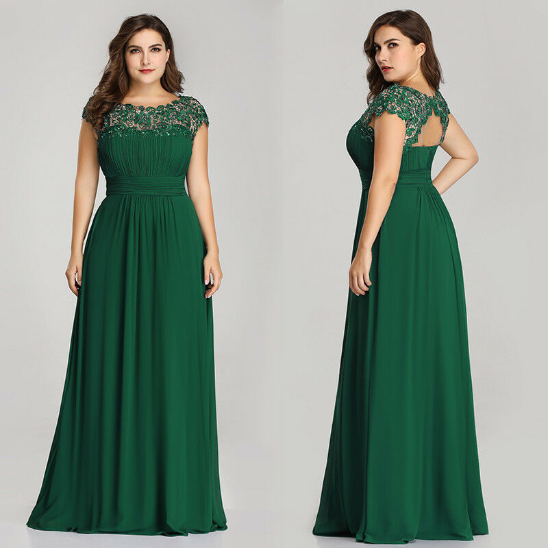 8bf6e8030c8 ... Sleeve Ladies Polyester. Ever-Pretty Plus Size Green Long Formal Prom  Gown Evening Party Maxi Dress 09993