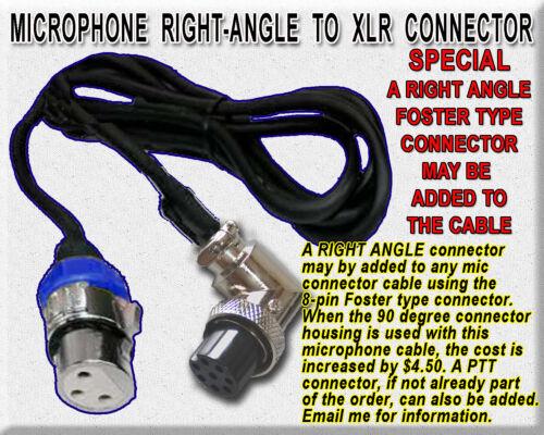 AMATEUR HAM YAESU KENWOOD ICOM OTHER 8-PIN MICROPHONE TO XLR FEMALE CABLE MALE