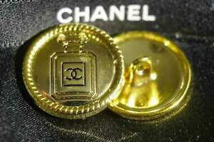 2-Two-Chanel-buttons-2-pieces-metal-cc-0-8-inch-21-mm-gold