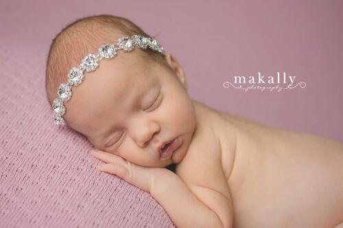Round Rhinestone Headband Newborn or child size-Photo Prop 8340