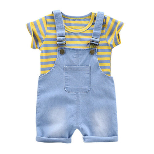 Toddler Baby Boy Stripe T shirt Summer Fashion Tops Suspender Pants Set Outfits