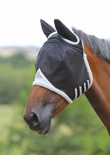 in Black 5 Sizes UV Protection Shires Field Durable Fly Mask with Ears