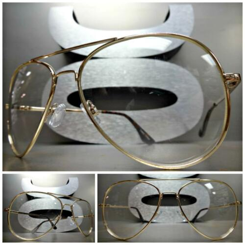 CLASSIC VINTAGE 70/'s RETRO Style Clear Lens EYE GLASSES Large Gold Fashion Frame