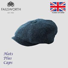 bd46c1e008e Failsworth Carloway Blue Herringbone Harris Tweed Newsboy Peaky Blinders Cap