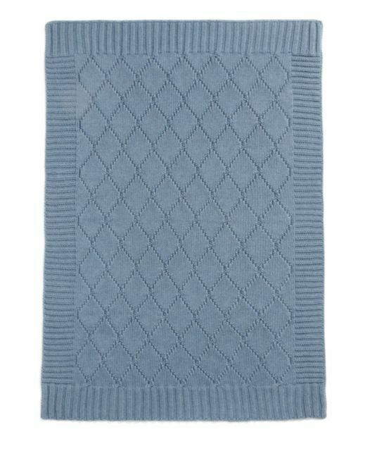 Welcome To The World Mamas /& Papas BLUE Knitted Blanket 70 x 90 cm
