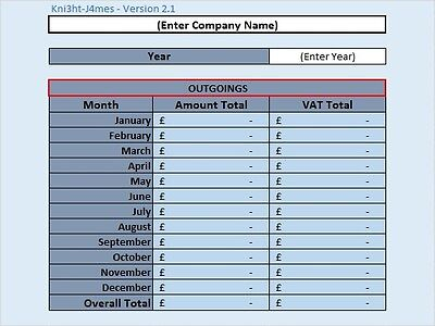 Business Outgoing Spreadsheet Template | eBay