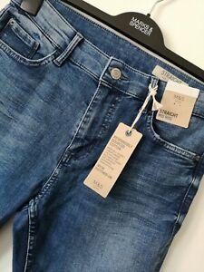 Damen-m-amp-s-Groesse-12-oder-20-Short-Indigo-Mid-Rise-Straight-Jeans-Free-Post