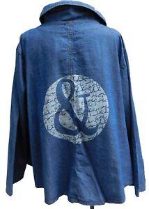 97d3e631fc01 Das Bild wird geladen LABASS-Bluse-Jacke-Tunika-Jeans-Denim-blau-Langarm-