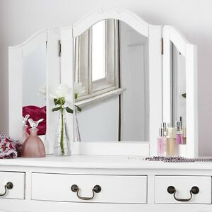 JULIETTE-Shabby-Chic-White-DressingTable-Mirror-Stunning-Large-3-way-mirror-ONLY
